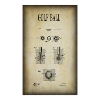 1902 GOLF BALL PATENT POSTER