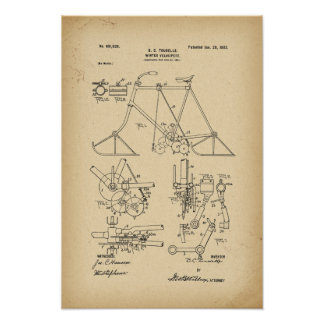 1902 Patent Bicycle Winter velocipede Poster