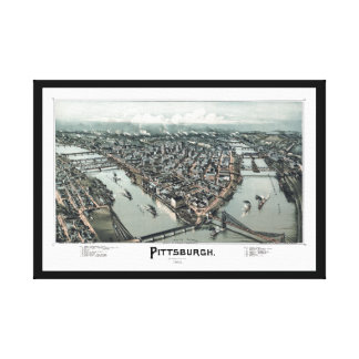 1902 Pittsburgh, opinión panorámica del ojo de páj Lona Envuelta Para Galerías