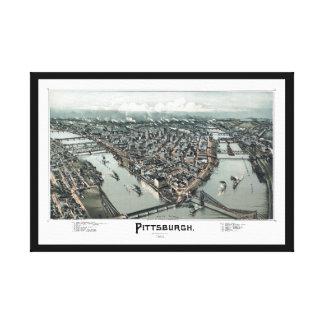 1902 Pittsburgh, PA Panoramic Map Bird's Eye View Canvas Print