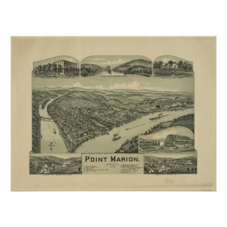 1902 Point Marion, PA Birds Eye View Panoramic Map Posters