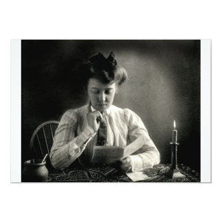 """1902 Reading by Candlelight 5"""" X 7"""" Invitation Card"""