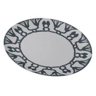 1903 arts and crafts design in dark cyan, blue dinner plate