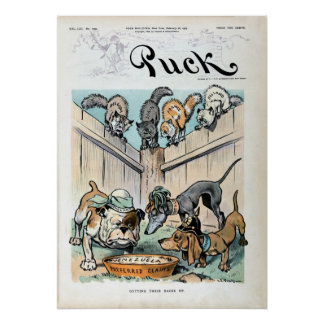 1903 Cats and dogs Puck political cartoon Poster