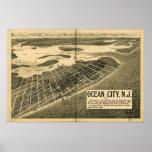 1903 ciudad del océano, mapa panorámico de la opin poster