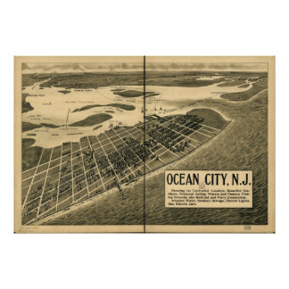 1903 Ocean City, NJ Birds Eye View Panoramic Map Poster