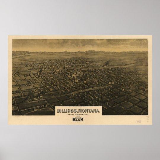 1904 Billings, MT Birds Eye View Panoramic Map Poster