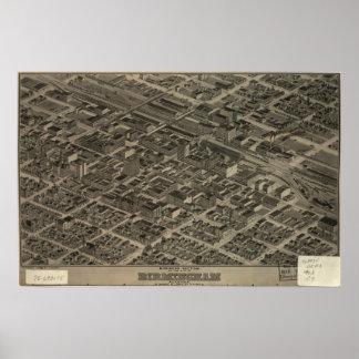 1904 Birmingham, AL Panoramic Map Birds Eye View Poster