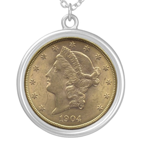 1904 frente de la moneda de veinte dólares (cabeza collar plateado
