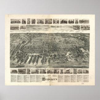 1904 Hoboken, mapa panorámico de la opinión de ojo Posters