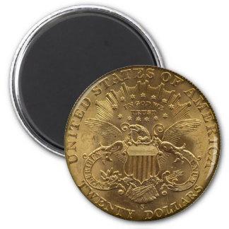1904 moneda de veinte dólares parte posterior co iman de nevera