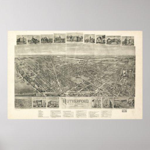 1904 Rutherford, mapa panorámico de la opinión de  Impresiones