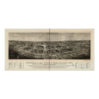 1904 St. Louis MO World's Fair Panoramic Map Print