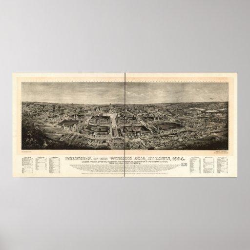 1904 St. Louis MO World's Fair Panoramic Map Poster