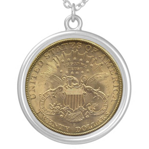 1904 twenty dollar coin back tails or 20 necklaces