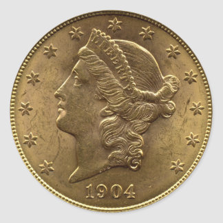 1904 Twenty Dollar Coin front (heads) or $20 money Classic Round Sticker