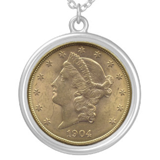 1904 Twenty Dollar Coin front (heads) or $20 money Silver Plated Necklace