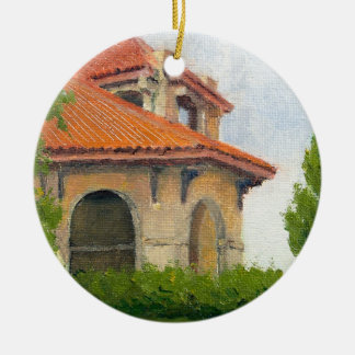 1904 World Fair Pavilion II Oil Landscape Painting Ceramic Ornament