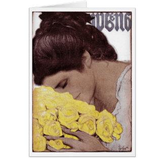 "1904 ""YELLOW ROSES"" MAGAZINE COVERART CARD"