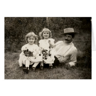 1905 A father and his daughters Card