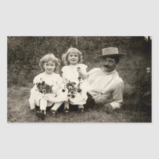 1905 A father and his daughters Rectangular Sticker