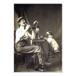 1905 Beer Drinking Dogs 5x7 Paper Invitation Card