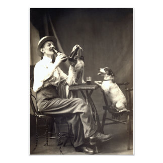 """1905 Beer Drinking Dogs 5"""" X 7"""" Invitation Card"""