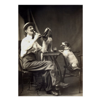 1905 Beer Drinking Dogs Poster