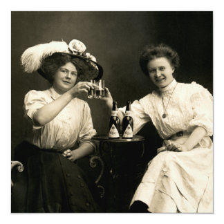 """1905 Beer Drinking Girl Friends 5.25"""" Square Invitation Card"""