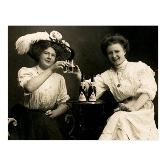 1905 Beer Drinking Girl Friends Postcard