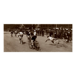 1905 Bicycle Race Wipe Out Poster