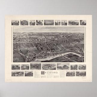 1905 Branford, CT Birds Eye View Panoramic Map Poster