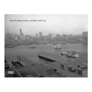 1905 Brooklyn Harbor and New York City Postcard