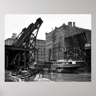 1905 CHICAGO EARLY JACKKNIFE DRAW BRIDGE POSTER