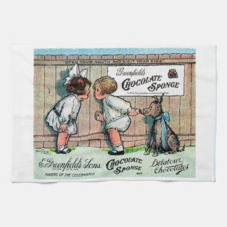 1905 Chocolate Candy Ad Hand Towels