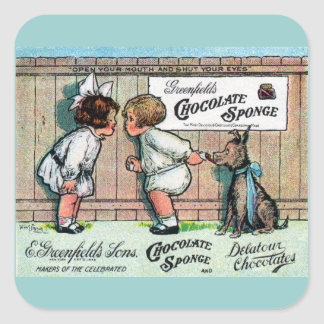 1905 Chocolate Candy Ad Square Sticker