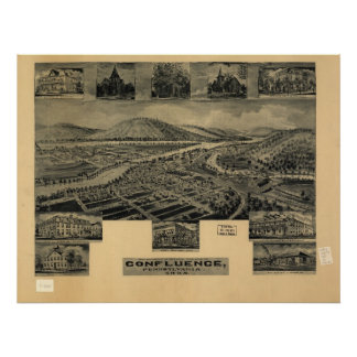 1905 Confluence, PA Birds Eye View Panoramic Map Poster