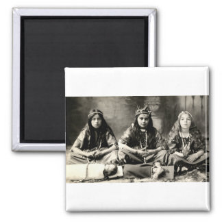 1905 Girls playing dress up 2 Inch Square Magnet