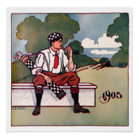 1905 Golf Art On Canvas Print