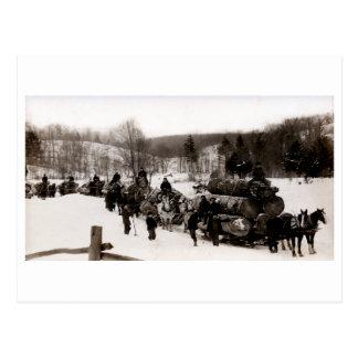 1905 leñadores en el trabajo tarjeta postal