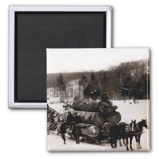 1905 Lumberjacks at work 2 Inch Square Magnet
