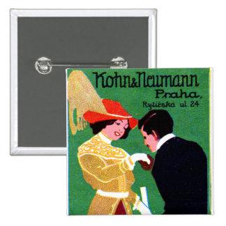 1905 Prague Fashion Poster Button