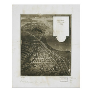 1905 San Mateo, CA Birds Eye View Panoramic Map Poster
