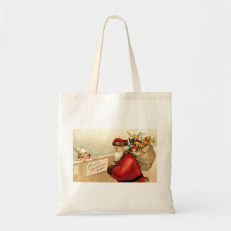 1905 Santa Claus and Little Girl Tote Bags