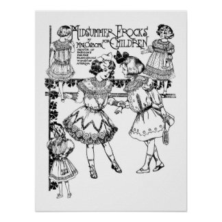 1905 Summer Frocks for Children Illustration Print