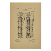 1905 Vintage Golf Caddy Bag Patent Art Print