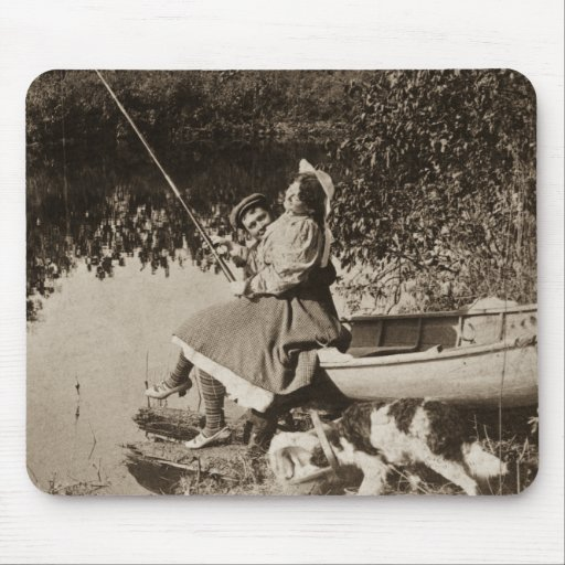1906 A Slight Nibble Vintage Stereoview Card Mousepad