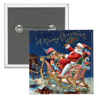 1906 Felices Navidad Pin Cuadrado