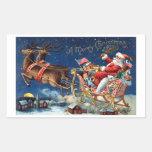 1906 Felices Navidad Rectangular Pegatinas