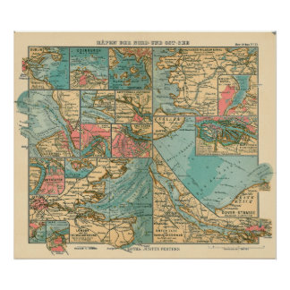 1906 German Map of Baltic & North Sea Seaports Poster